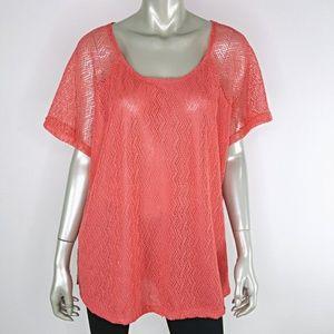 Plus Size 2X Pink Raglan Sleeve Net Overlay Top